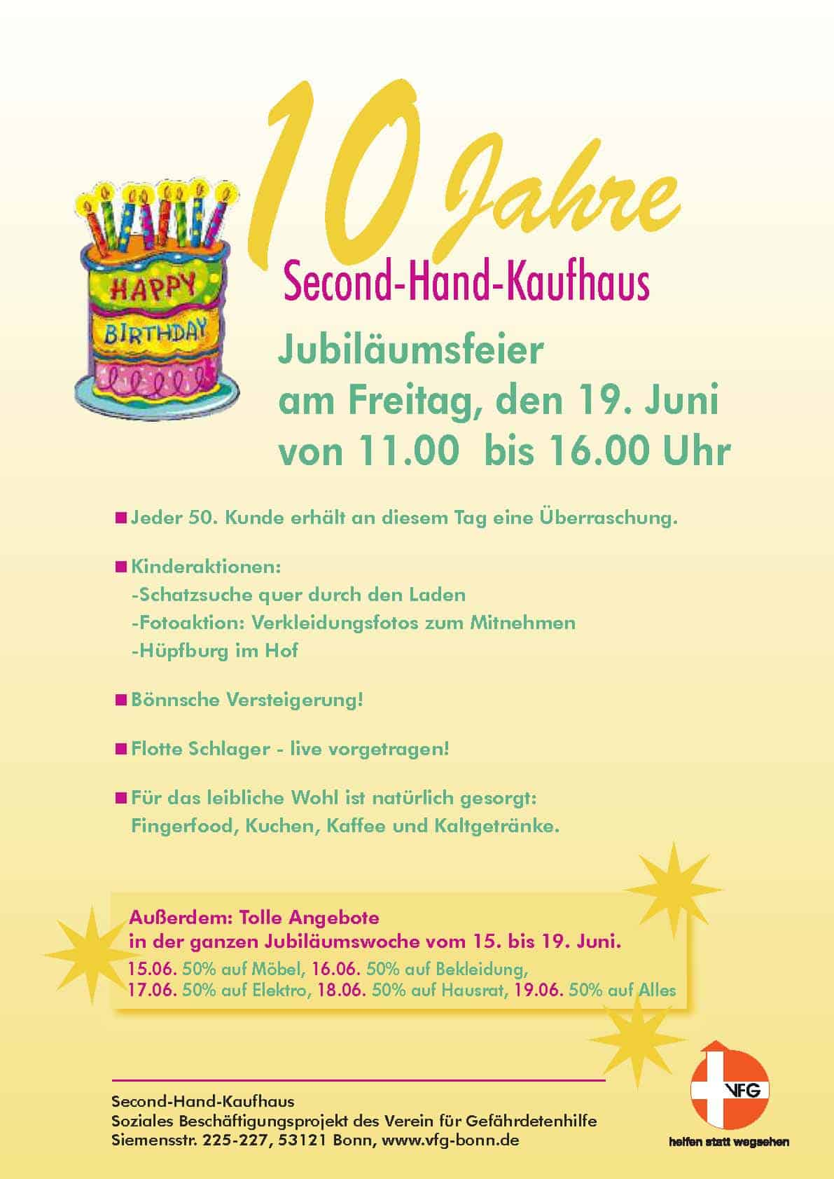 vfg | 10 jahre vfg second-hand kaufhaus, Einladung